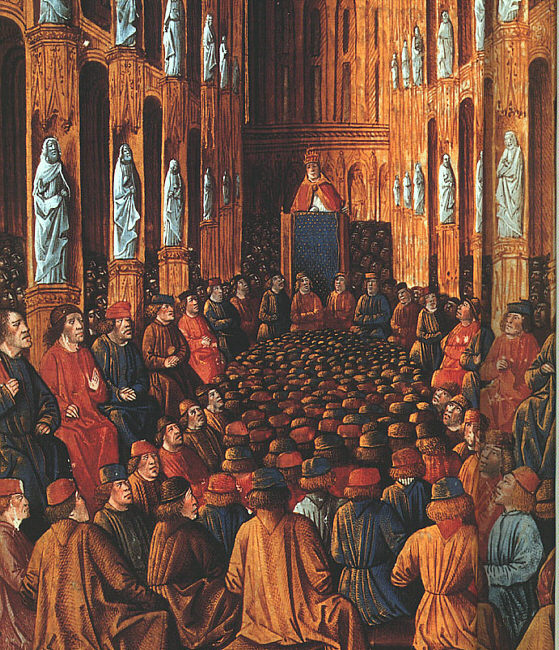 Pope Urban II at the Council of Clermont calls to start the Crusades.